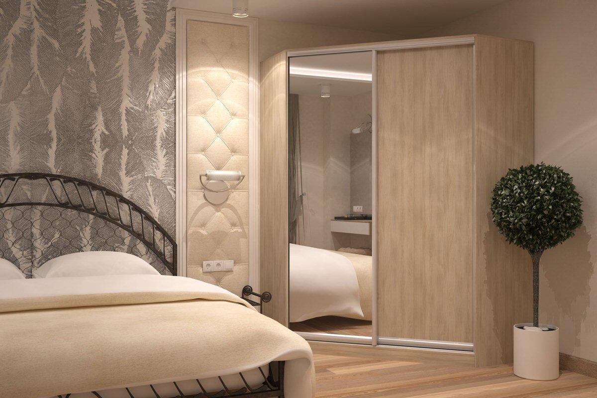 Шкаф-купе с зеркалом в спальне